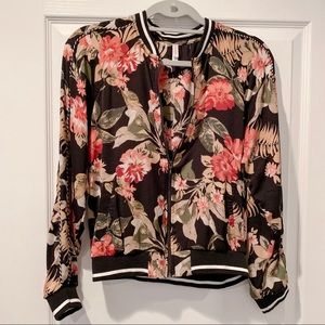 Floral Zip Up Bomber Jacket